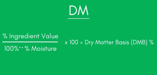 Formula for determining dry matter basis