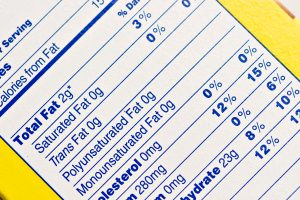 Image of nutrition facts label showing fat content.