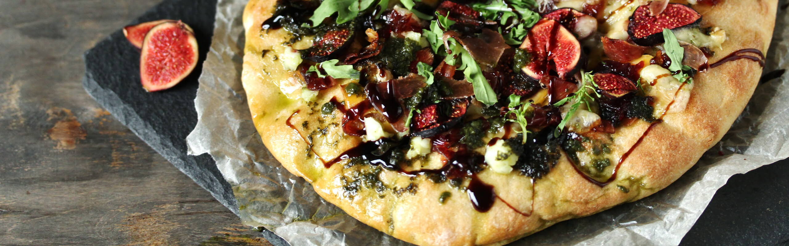 Feature Image: Fig, Shrimp, and Arugula Flatbread